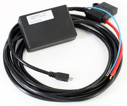Integration Micro-USB charger/converter 12/24V (9-36V to 5V, max. 20W, 3m)